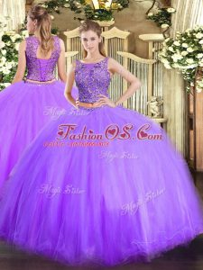 Nice Sleeveless Lace Up Floor Length Beading Quinceanera Gowns