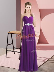 Adorable Chiffon Sweetheart Sleeveless Lace Up Beading Prom Party Dress in Purple
