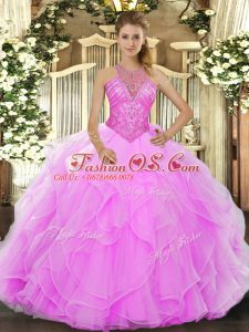 Dazzling Sleeveless Organza Floor Length Lace Up Quinceanera Gown in Rose Pink with Beading and Ruffles