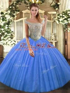 Custom Designed Tulle and Sequined Off The Shoulder Sleeveless Lace Up Beading Ball Gown Prom Dress in Baby Blue