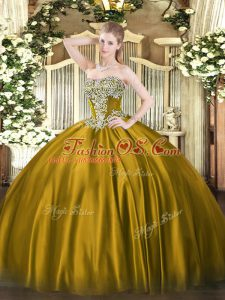 Sleeveless Floor Length Beading Lace Up Quince Ball Gowns with Brown