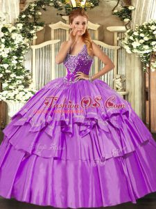 Lilac Ball Gowns Organza and Taffeta Straps Sleeveless Beading and Ruffled Layers Floor Length Lace Up Ball Gown Prom Dress