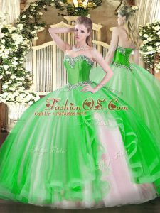 Floor Length Ball Gowns Sleeveless Green Sweet 16 Quinceanera Dress Lace Up