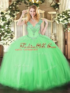 Dynamic V-neck Sleeveless Lace Up Quince Ball Gowns Apple Green Tulle