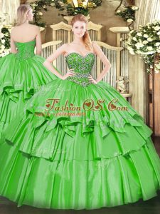 Ball Gowns Sweetheart Sleeveless Organza and Taffeta Floor Length Lace Up Beading and Ruffled Layers Sweet 16 Dresses