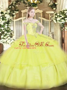 Comfortable Ball Gowns Quinceanera Gowns Yellow Off The Shoulder Organza Sleeveless Floor Length Lace Up