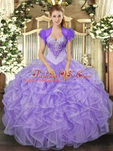 Customized Organza Sweetheart Sleeveless Lace Up Beading and Ruffles Quinceanera Gown in Lavender