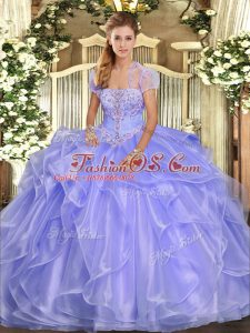 Deluxe Lavender Ball Gowns Strapless Sleeveless Organza Floor Length Lace Up Appliques and Ruffles Quinceanera Gowns