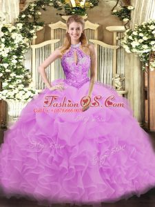 Romantic Halter Top Sleeveless Lace Up Quinceanera Dresses Lilac Organza
