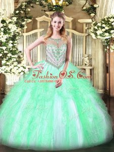 Scoop Sleeveless Zipper 15th Birthday Dress Apple Green Tulle