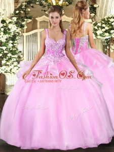 Colorful Pink Sleeveless Beading Floor Length Quince Ball Gowns