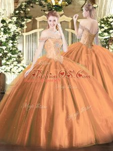 Off The Shoulder Sleeveless Tulle Vestidos de Quinceanera Beading Lace Up