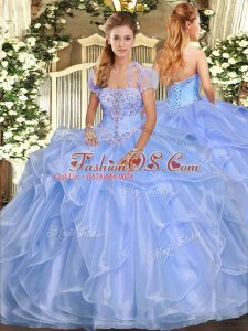 Beautiful Floor Length Ball Gowns Sleeveless Light Blue Quince Ball Gowns Lace Up