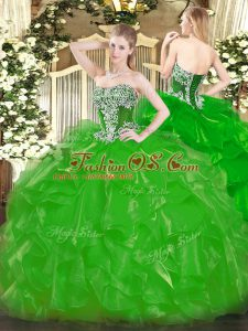 Green Lace Up Strapless Beading and Ruffles Vestidos de Quinceanera Organza Sleeveless