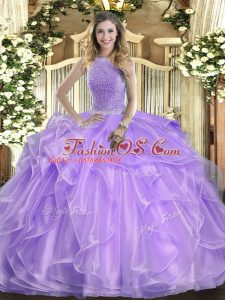 Comfortable Lavender Ball Gowns Organza High-neck Sleeveless Beading and Ruffles Floor Length Lace Up Quinceanera Gown