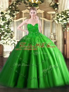 Floor Length Lace Up Quince Ball Gowns Green for Military Ball and Sweet 16 and Quinceanera with Appliques