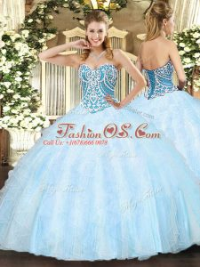 Wonderful Light Blue Lace Up Sweetheart Beading and Ruffles Vestidos de Quinceanera Tulle Sleeveless