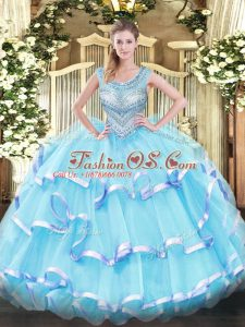 Aqua Blue Organza Lace Up Sweet 16 Quinceanera Dress Sleeveless Floor Length Beading and Ruffled Layers