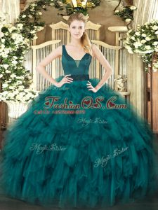 Edgy Teal Quinceanera Dresses Military Ball and Sweet 16 and Quinceanera with Beading and Ruffles Straps Sleeveless Zipper