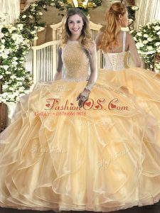 Adorable Champagne Organza Lace Up Sweet 16 Quinceanera Dress Sleeveless Floor Length Beading and Ruffles
