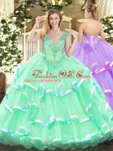 High Class Apple Green V-neck Neckline Beading Quinceanera Gowns Sleeveless Lace Up