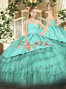 Turquoise Sweetheart Neckline Beading and Lace and Embroidery and Ruffled Layers Quinceanera Dresses Sleeveless Zipper