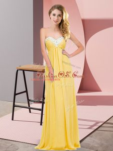 Exquisite Sleeveless Chiffon Floor Length Lace Up Evening Dress in Gold with Ruching