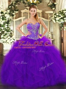 Modern Purple Sweetheart Lace Up Beading and Ruffles Vestidos de Quinceanera Sleeveless