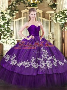 Purple Sleeveless Organza and Taffeta Zipper Sweet 16 Dresses for Military Ball and Sweet 16 and Quinceanera