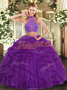 Purple Quinceanera Gowns Military Ball and Sweet 16 and Quinceanera with Beading and Ruffled Layers Halter Top Sleeveless Criss Cross