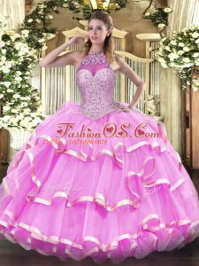 Pretty Rose Pink Lace Up Sweet 16 Dresses Beading and Ruffled Layers Sleeveless Floor Length