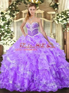 Most Popular Lavender Lace Up Sweetheart Ruffled Layers Quinceanera Dress Organza Sleeveless
