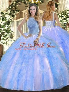 Extravagant Baby Blue Lace Up Quinceanera Dresses Beading and Ruffles Sleeveless Floor Length