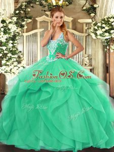 Low Price Turquoise Ball Gowns Beading and Ruffles Quinceanera Dress Lace Up Tulle Sleeveless Floor Length