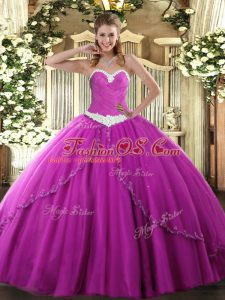 Exquisite Tulle Sweetheart Sleeveless Brush Train Lace Up Appliques Sweet 16 Dresses in Fuchsia
