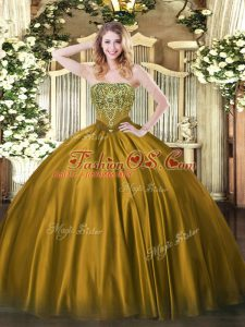 Brown Sleeveless Satin Lace Up 15th Birthday Dress for Military Ball and Sweet 16 and Quinceanera