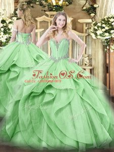 Green Tulle Lace Up Sweetheart Sleeveless Floor Length Quince Ball Gowns Beading and Ruffles