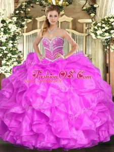 Sleeveless Floor Length Beading and Ruffles Lace Up Ball Gown Prom Dress with Fuchsia