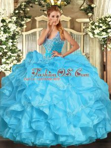 Aqua Blue Sleeveless Floor Length Beading and Ruffles Lace Up Sweet 16 Quinceanera Dress