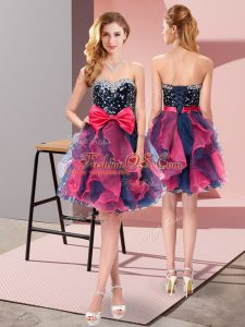 Sweetheart Sleeveless Organza Dress for Prom Beading and Ruffles and Bowknot Lace Up