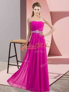 Modern Fuchsia Strapless Neckline Beading Homecoming Dress Sleeveless Lace Up