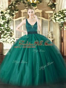 Hot Selling Ball Gowns Sweet 16 Dresses Teal Straps Tulle Sleeveless Floor Length Zipper