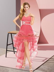 Coral Red Lace Up Womens Party Dresses Beading Sleeveless High Low