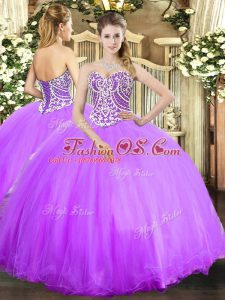 Cheap Lavender Ball Gowns Tulle Sweetheart Sleeveless Beading Floor Length Lace Up Quinceanera Gowns