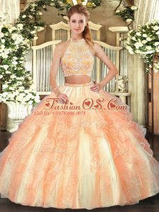 Sleeveless Tulle Floor Length Criss Cross Ball Gown Prom Dress in Gold with Beading and Ruffled Layers