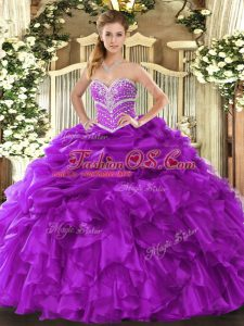 Attractive Sweetheart Sleeveless Organza Quince Ball Gowns Beading and Ruffles and Pick Ups Lace Up
