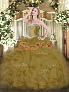 Fashion Brown Organza Lace Up Quinceanera Dress Sleeveless Floor Length Beading and Ruffles