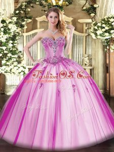 Fantastic Sleeveless Tulle Floor Length Lace Up Quinceanera Gowns in Fuchsia with Beading and Appliques