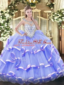 Adorable Sleeveless Beading and Ruffled Layers Zipper Quinceanera Gowns