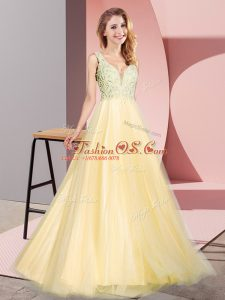 Custom Fit Gold A-line Tulle V-neck Sleeveless Lace Floor Length Zipper Womens Party Dresses